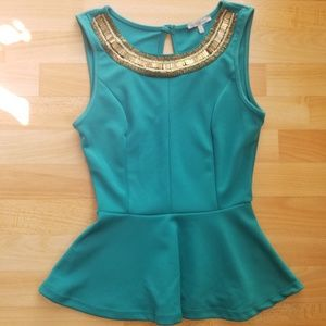 Teal Peplum Blouse Beaded Neckline
